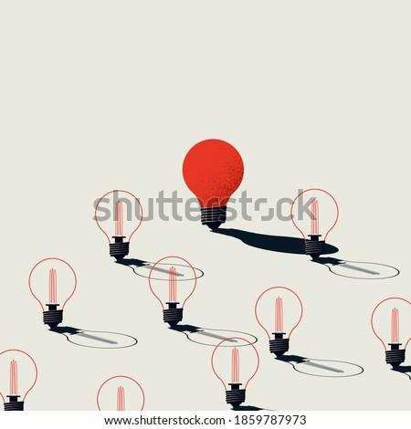 Creativity vector concept with one lightbulb turned on. Symbol of innovative idea, breakthrough, brainstorming. Eps10 illustration.