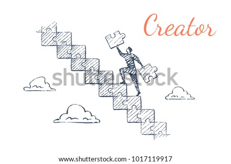 Creator. A man is running up the ladder from puzzles. Vector business concept illustration, hand drawn sketch.