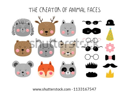 Creator of animals in the Scandinavian style for children's posters Stockfoto ©