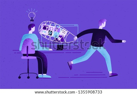 Creator sitting at desk and working and plagiarist or pirate stealing his ideas, content, work results. Concept of plagiarism and infringement of copyright. Flat cartoon colorful vector illustration. Сток-фото ©