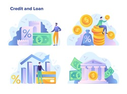 Credit and loan facilities for financial goals concept showing money, interest rates, statistical performance graphs, banking and success, colored vector illustration