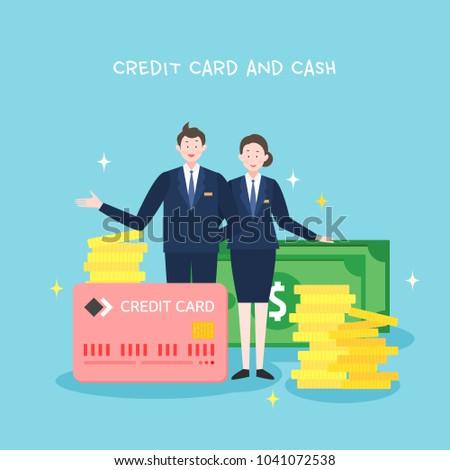 Credit card and cash illustration