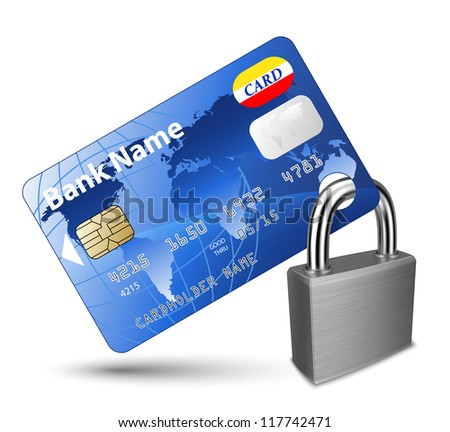 Credit card and Padlock. Concept of a safe payment