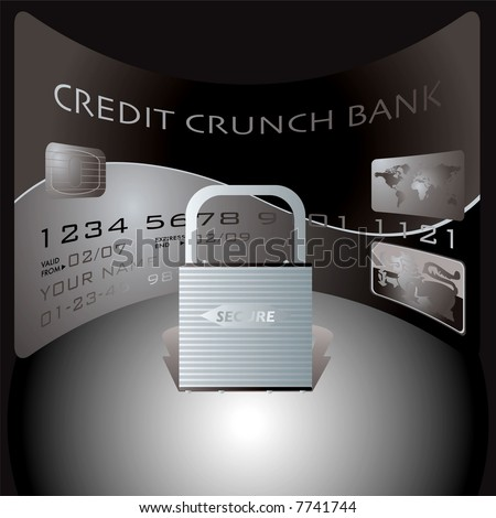 credit card and padlock showing the financial dangers of spending