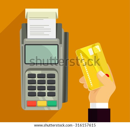 Credit card and pos terminal. Vector flat illustration