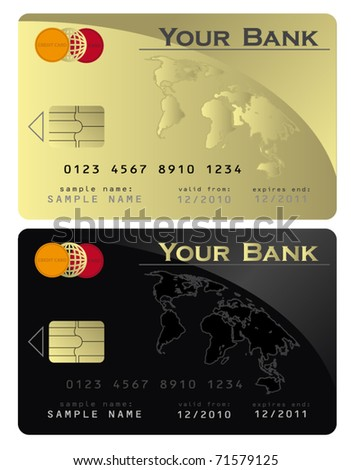 Credit card Black Gold  vector template