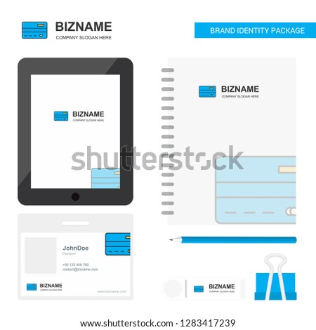 Credit card Business Logo, Tab App, Diary PVC Employee Card and USB Brand Stationary Package Design Vector Template #1283417239