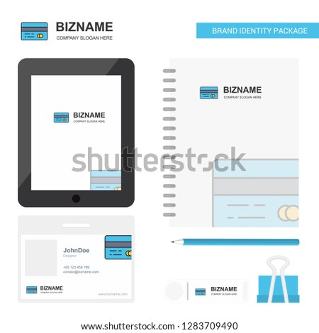 Credit card Business Logo, Tab App, Diary PVC Employee Card and USB Brand Stationary Package Design Vector Template #1283709490