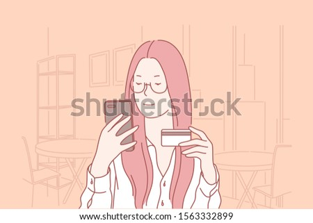 Credit card, buy, identification, confirmation, business concept. Young woman, businesswoman enters personal data for activations of Bank card. Teen girl buys in an online store. Shopping. Flat vector