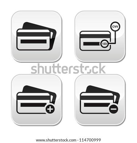 Credit Card, CVV code buttons set