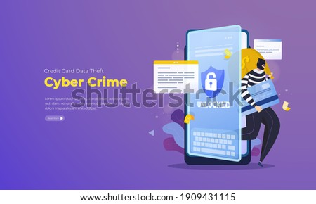 Credit card data theft illustration, Cyber crime illustration for landing page Foto stock ©