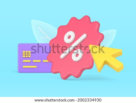 Credit card discount program. Purple plastic card with pink jagged percentage label. Arrow pointer to marketing action. Bonus banking commercial offer for retail. Vector realistic 3d illustration Stock foto ©