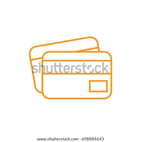 credit card icon. Linear style. Isolated vector.