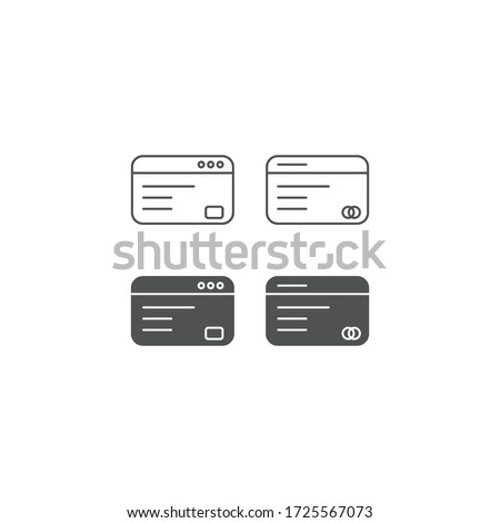 Credit card icon or logo in line and solid style. High quality sign and symbol on a white background. Vector outline pictogram for infographic, web design and app development.
