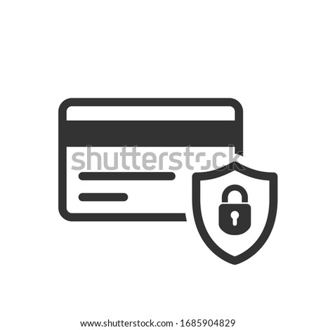 Credit card icon with shield and padlock symbol Photo stock ©