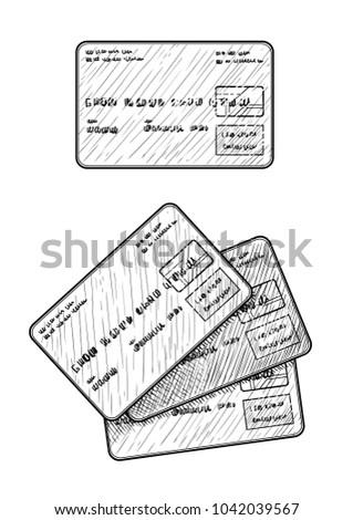 Credit card illustration, drawing, engraving, ink, line art, vector