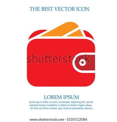 Credit card in wallet. Vector icon.