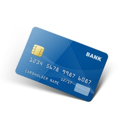 Credit card isolated on white background. Ready to use. Vector illustration