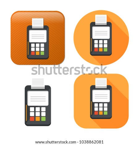 credit card machine icon - payment terminal illustration - atm for money cash