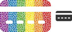 Credit card mosaic icon of spheric dots in various sizes and rainbow colorful color tints. A dotted LGBT-colored credit card for lesbians, gays, bisexuals, and transgenders.