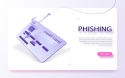 Credit card on fishing hook Scam, phishing concept. Internet phishing, hacking credit card or personal information website. Cyber account attack. Phishing scam, hacker attack and web security concept.