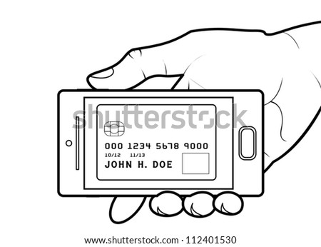 Credit card on smartphone screen. Modifiable colors. EPS/AI8 file.