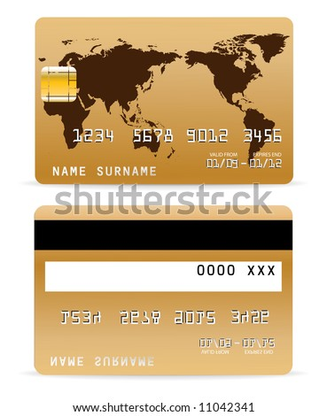 Credit Card on Word Map Background - stock vector