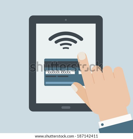 credit card payment hand holding tablet flat