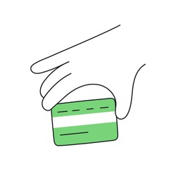 Credit card payment, line hand holding a plastic card. Payment, purchase, credit card tap. Thin line vector illustration on white.