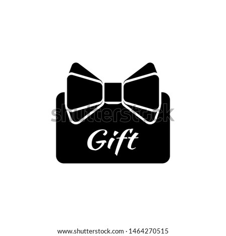 Credit Card Present, Gift with Ribbon. Flat Vector Icon illustration. Simple black symbol on white background. Credit Card Present, Gift with Ribbon sign design template for web and mobile UI element