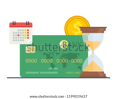 Credit card purchase and payment concept. Debt repayment, repayment of a debt, credit card debt. Loan repayment, return of funds to the card. Vector illustration.