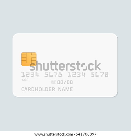 Credit Card realistic mockup. Clear plastic card template on grey background. Business and finance concept.