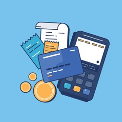 Credit card, receipt, money, coin, card swipe machine in payment concept - Vector