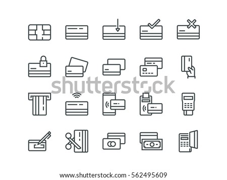 Credit card. Set of outline vector icons. Contains such Icons as Chip, Register, Safe Payment, Cash, Sync and more.