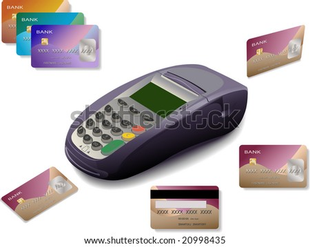 credit card terminal with cards