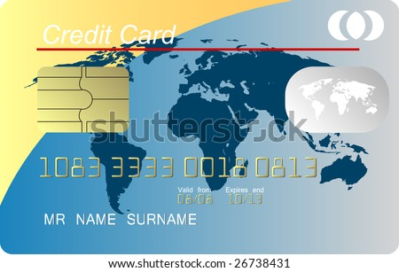 Credit card vector, vector - stock vector