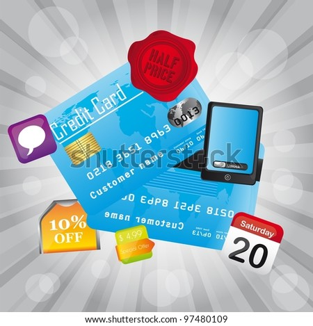 credit card with icons over silver background. vector