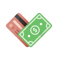 Credit card with money currency - dollar in heart shape. Online shopping abstract business symbol.