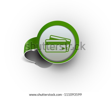 credit cards hanging sticker icon, vector