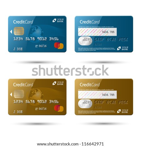 Credit cards, isolated, vector