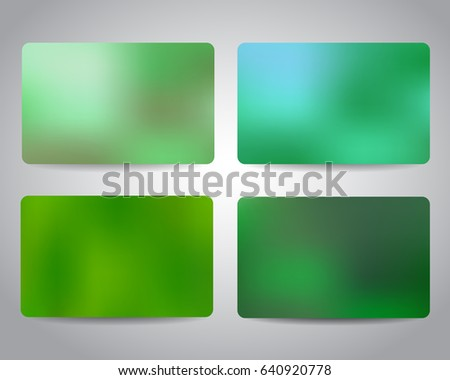 Credit cards or gift cards templates set with colorful mesh abstract design background. Green ecology colors