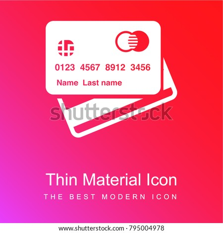 Credit cards red and pink gradient material white icon minimal design