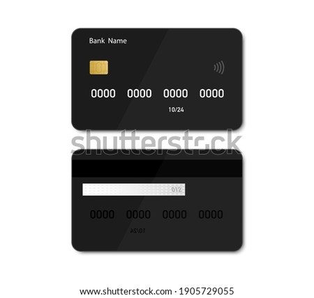 Credit debit black card mockup in flat style. Credit card template design for presentation. Flat credit card isolated on white background. Vector illustration. EPS10