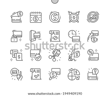 Credit. Payment period. Credit approval. Banking, commerce, finance, budget, accounting and economy. Credit cards. Pixel Perfect Vector Thin Line Icons. Simple Minimal Pictogram