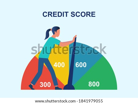 Credit rating, credit history improvement, credit bureau abstract concept. Businesswoman changing personal credit information. Flat cartoon vector illustration with fictional character