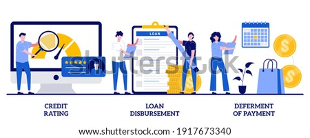 Credit rating, loan disbursement, deferment of payment concept with tiny people. Bank service vector illustration set. Risk evaluation, student loan, payment terms, financial hardship metaphor.