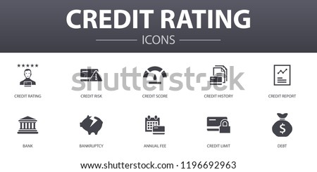 credit rating simple concept icons set. Contains such icons as Credit risk, Credit score, Bankruptcy, Annual Fee and more, can be used for web, logo, UI/UX