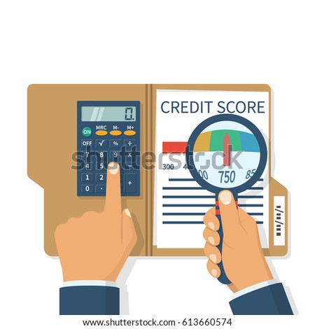 Credit score, gauge. Study credit information. Hold calculator and magnifying glas. Report form document. Vector illustration flat design. Isolated on white background. Graph sheet. Financial rating.