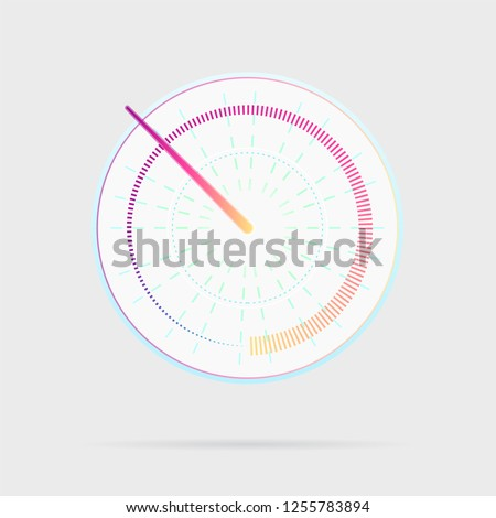 Credit score indicator icon. Speedometer for dashboard. Gauges with measuring scale. Power meters, internet connection speed meter stages. Tachometer performance symbol. Vector illustration