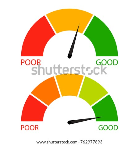 Credit score indicator set. Pointer needle and spectrum level, vector financial indicator rating illustration